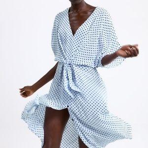 Zara Polka Dot V-neck Tie Waist Midi Dress